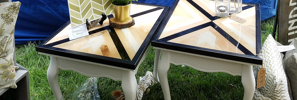 Wood Inlay End Tables