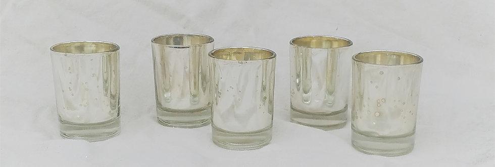 Silver Mercy Speckled Glass Votive