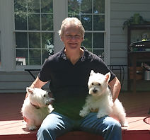 Author William Charles Furney with his Westies Duncan and Clair.