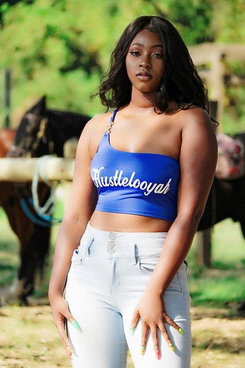 Hustlelooyah Women's One Shoulder Crop Top