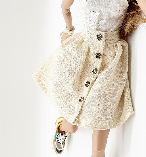 Doll Button Front Linen Skirt