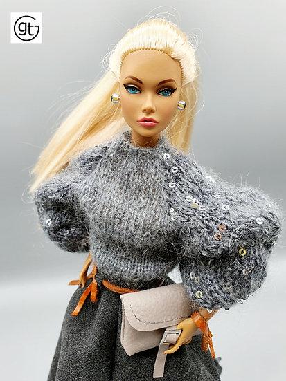 Doll Grey Mohair Sequin Jumper