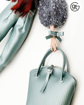 Doll fashion ensemble of faux leather bag, bracelet and trousers in delicious peppermint green
