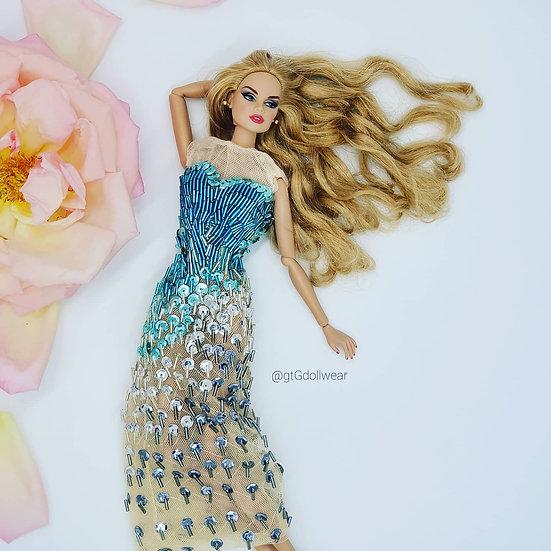Doll Sequin Aquamarine Gown