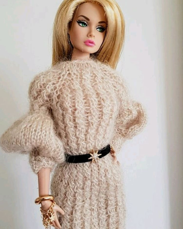 Luxurious cable knit doll dress with puff sleeves available for pre-order