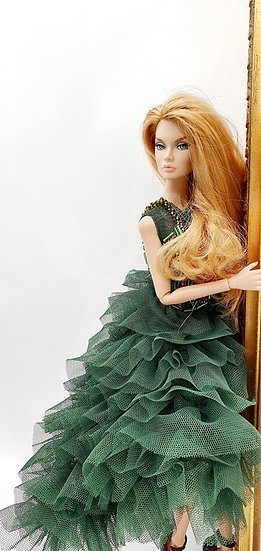 Doll Forest Green Beaded Gown