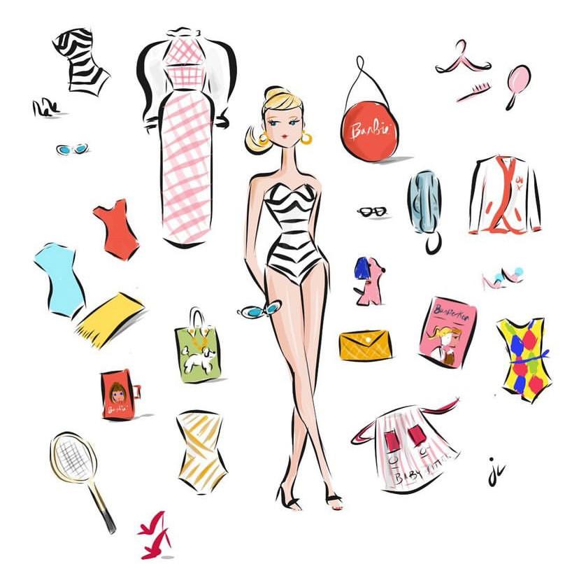fashion doll illustration by Jennifer Vallez
