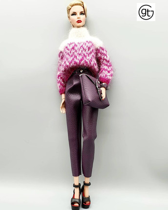 Integrity Toys Fashion Royalty 1/6 Fashion Doll Convention Agnes getting ready for a business lunch in faux leather aubergine trousers teamed with a miniture of Trusardi Milan Fashion Week jumper