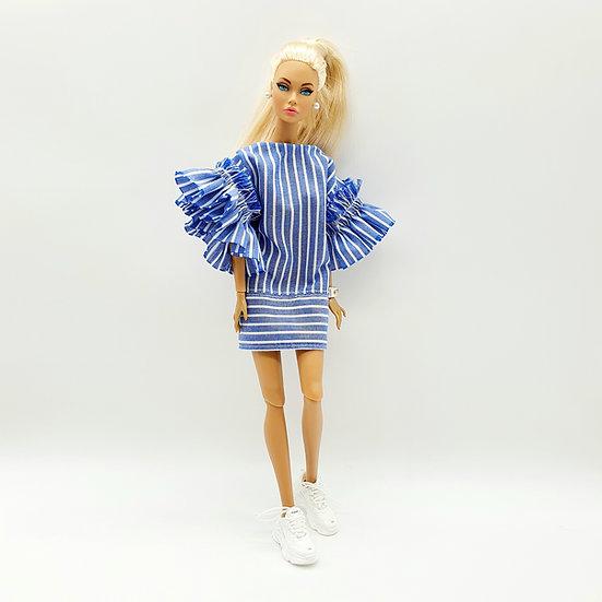 Doll Nautical Striped Dress