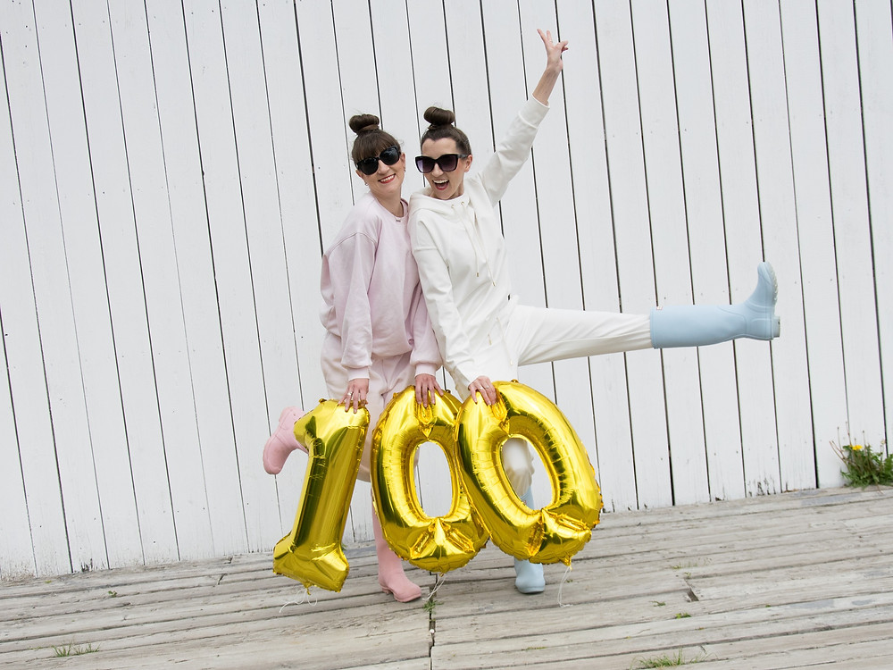 Izabela and Justyna celebrating 100K followers on their instagram account devoted to collectable fashion dolls barbie, mtm, fashionista