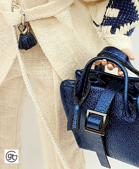 Doll Faux Leather Bag with Tassel Charm