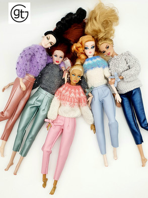 Integrity Toys and Silkstone Barbie Dolls - gtGdollwear team in our all time favourite leather trousers! Unique fashion doll styling.