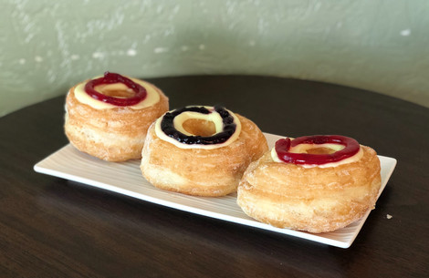 Our Cherry Cronuts and Blueberry Cronuts