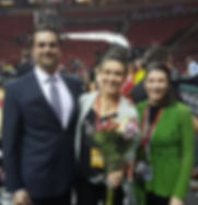 An image of Carolyn with Seattle University's former head athletic trainer and team doctor.