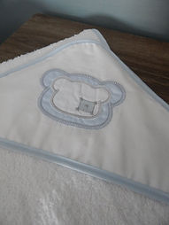 Baby Oliver teddy blue hooded towel