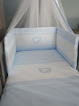 Baby Oliver Teddy Blue quilt and bumpe set