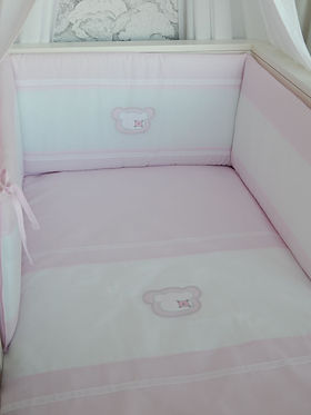 Baby Oliver pink Teddy quilt and bumper set