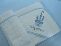 Baby Oliver blue castle hooded towel