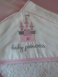 Baby Oliver Pink Castle hooded towel