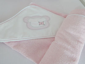 Baby Oliver pink Teddy hooded towel