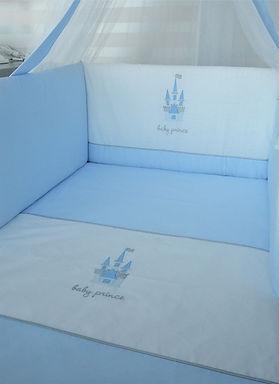Baby Oliver blue castle quilt and bumper set