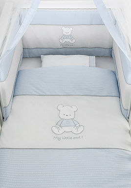 Baby Oliver Teddy Blue baby bedding embroidered collection with original Swarovski Crystals