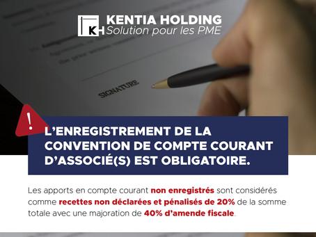 Enregistrement de la convention de compte courant