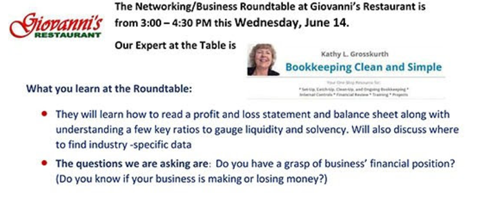 """SCBA Networking / Business Roundtable June 14 - I'm the """"Expert at the Table!"""""""