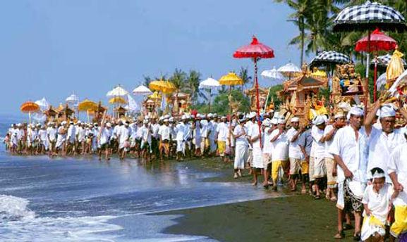 Balinese Ceremony near Heaven in Bali