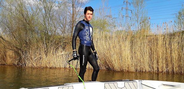 Moritz Engelhardt skiing at NoWave Lake Austria