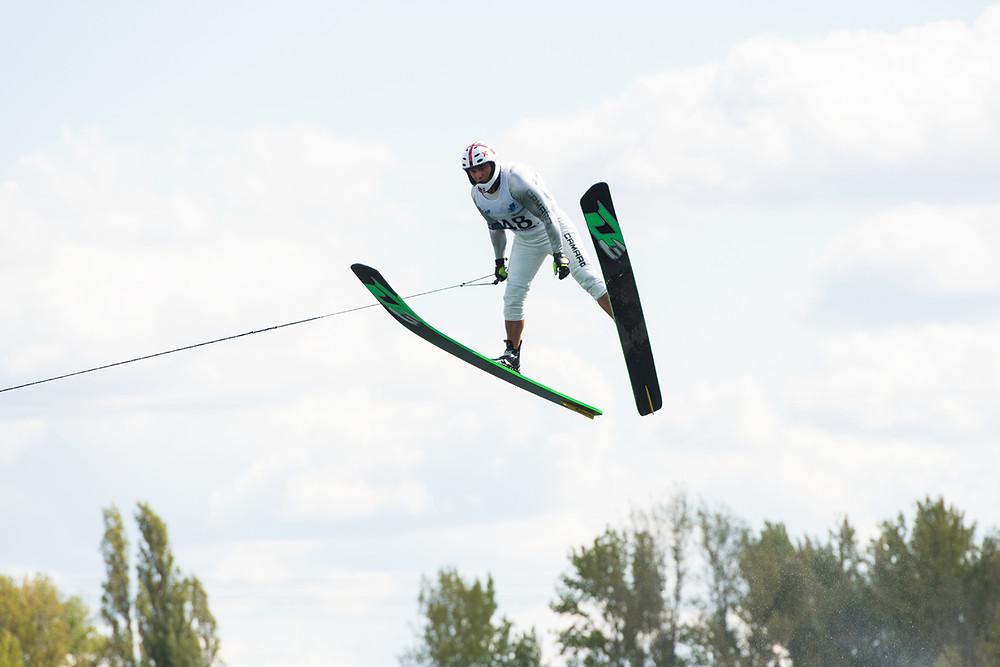Genadi Guralia jump at the E&A in Halle Germany in 2018