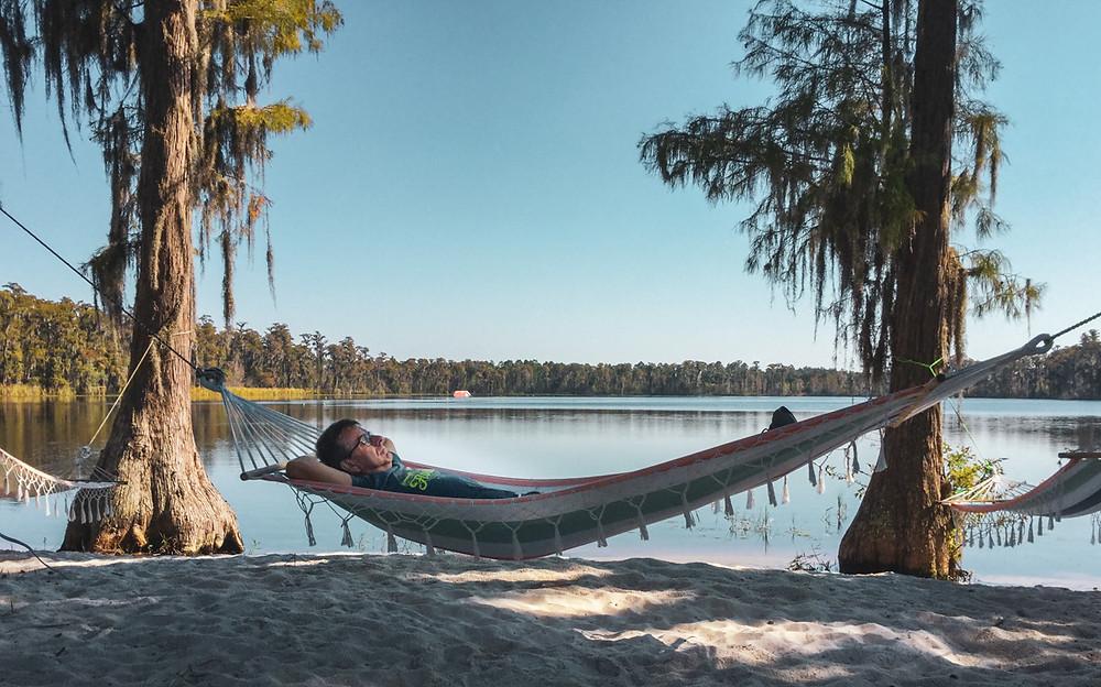 Relaxing in hammock Jodi Fisher Waterski School Orlando Florida