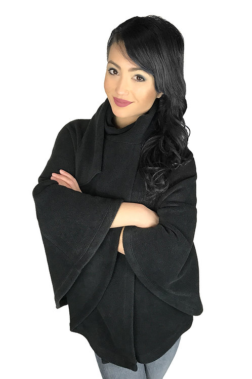 Women's Black Poncho Style Fleece Cover Up With Muffler