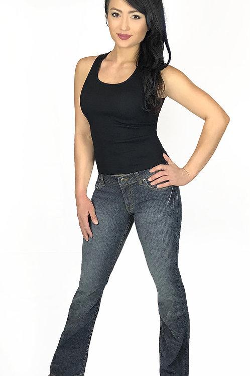 Women's Stretch Denim Stone Washed Skinny Flare Jeans