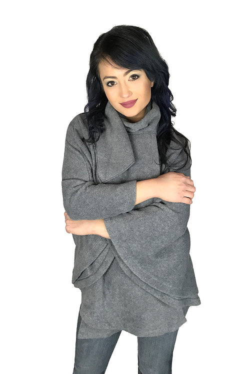 Women's Gray Poncho Style Fleece Cover Up With Muffler