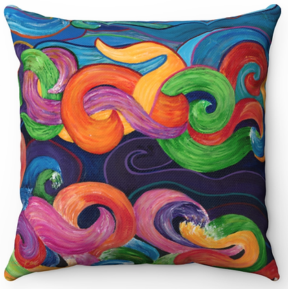"""Colorful Waves"" Throw Pillow"