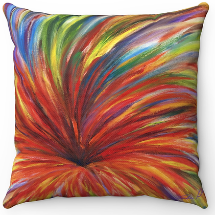 """Bursting Red Flower"" Throw Pillow"