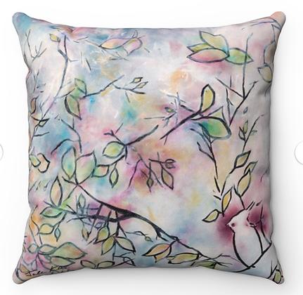 """""""Bird in the Garden"""" Throw Pillow"""