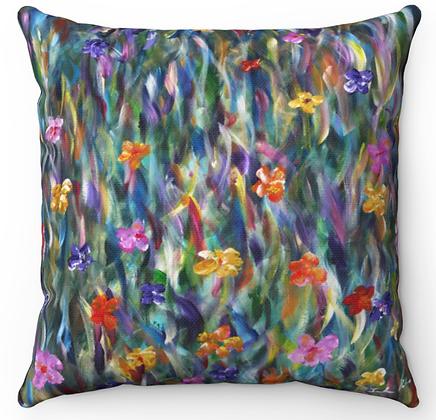 """""""Flowerful Field"""" Throw Pillow"""