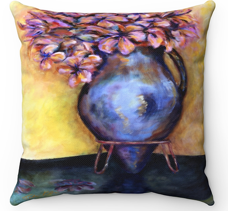 """Blue Vase"" Throw Pillow"