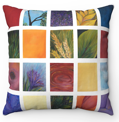 """""""Flowers Collage"""" Throw Pillow"""
