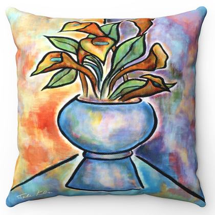 """Calla Lilies in Vase"" Throw Pillow"
