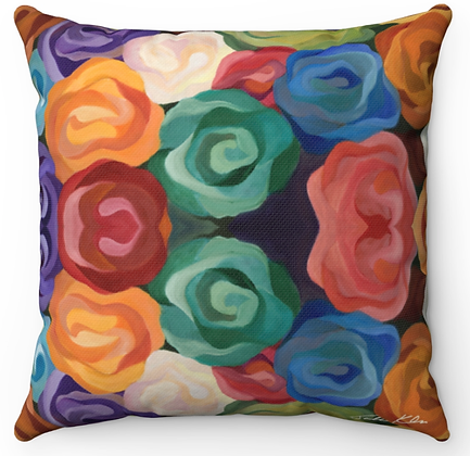 """Boldly Flowered"" Throw Pillow"