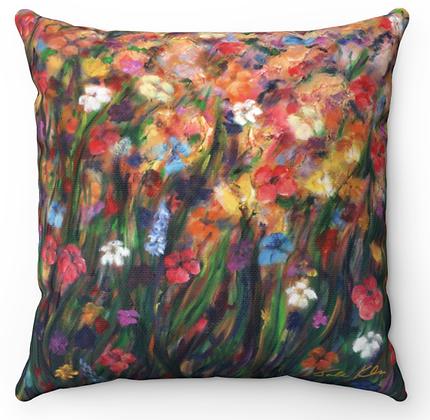 """""""Pink Flower Field 2"""" Throw Pillow"""