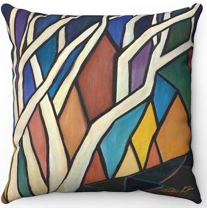 """Stained Glass Sunset"" Throw Pillow"