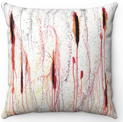 """Red Stalks"" Throw Pillow"