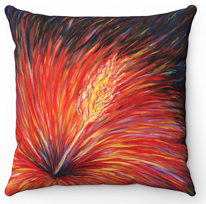 """Red & Black Flower"" Throw Pillow"