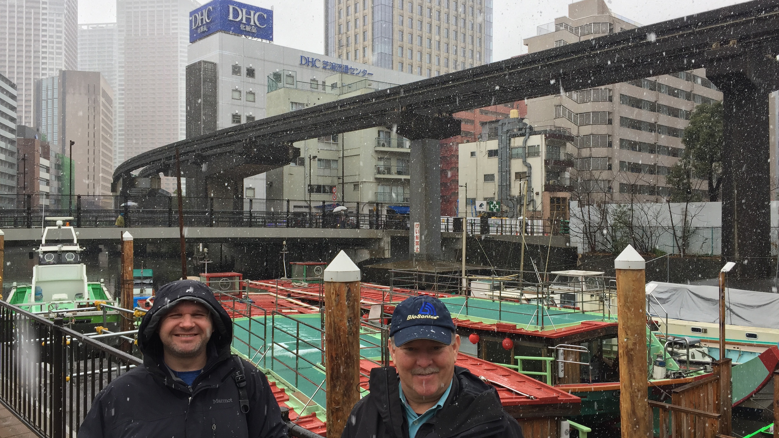 Brian Moore and Tim Acker from BioSonics preparing for the mission on a cold day in Tokyo.