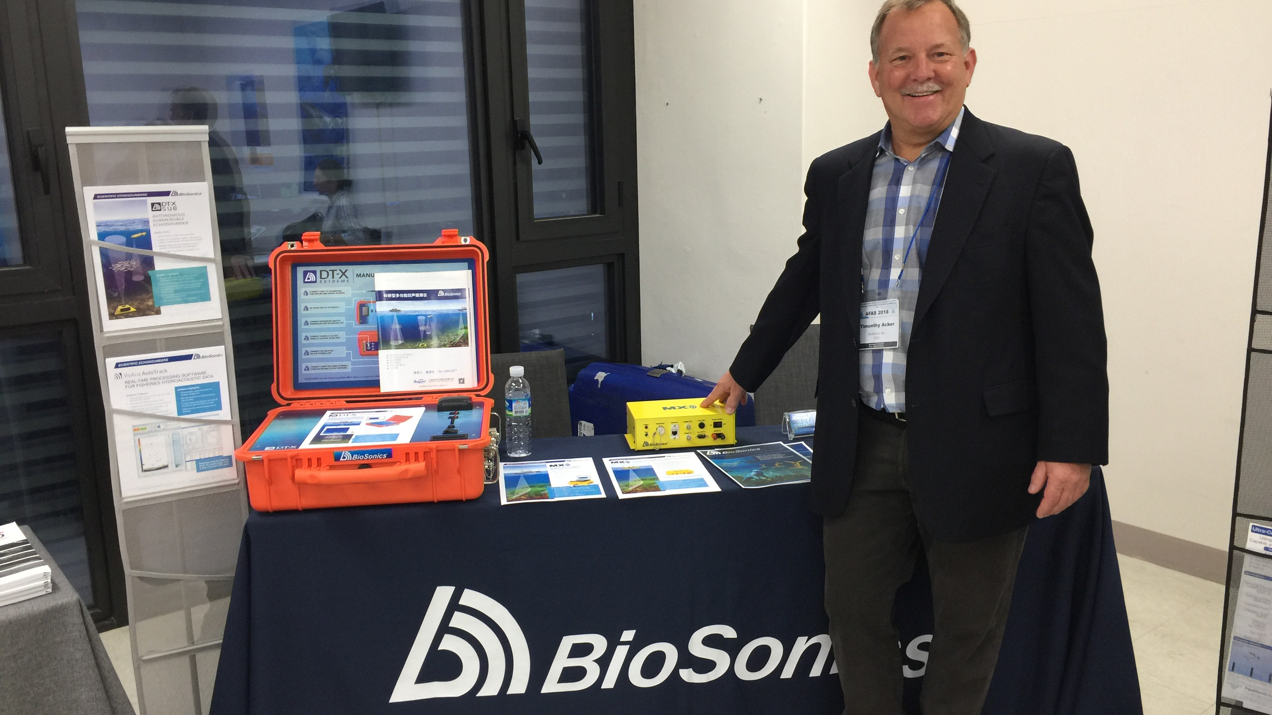 Tim Acker, BioSonics CEO, at the 2018 AFAS Meeting