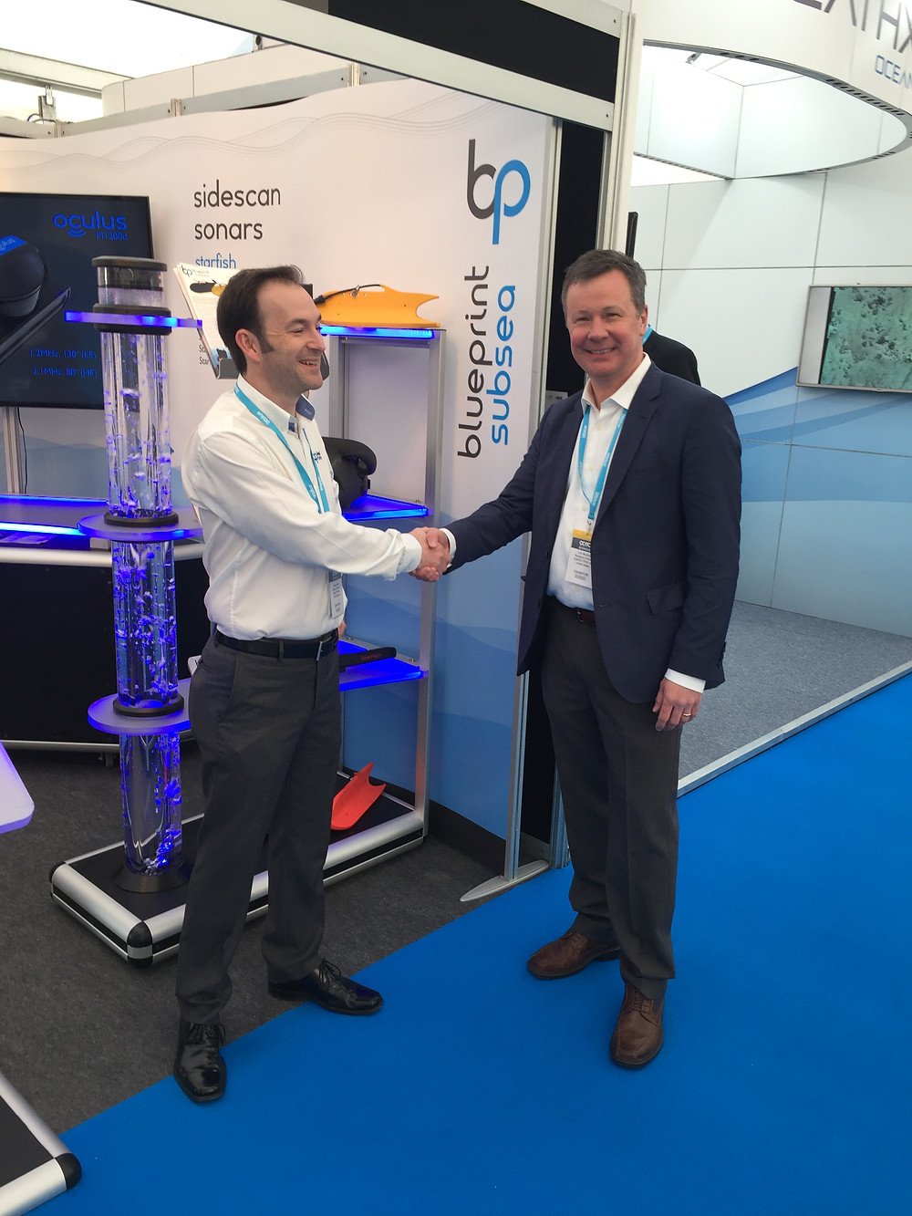 James Barratt (left), Managing Director of Blueprint Subsea with Eric Munday (right) of SUBSEA 20/20 at Ocean Business in Southampton, England.